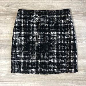 Ann Taylor Wool Blend Textured Black White Skirt